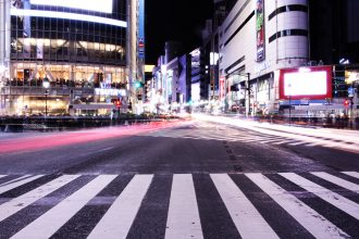 shibuya crossing night photo