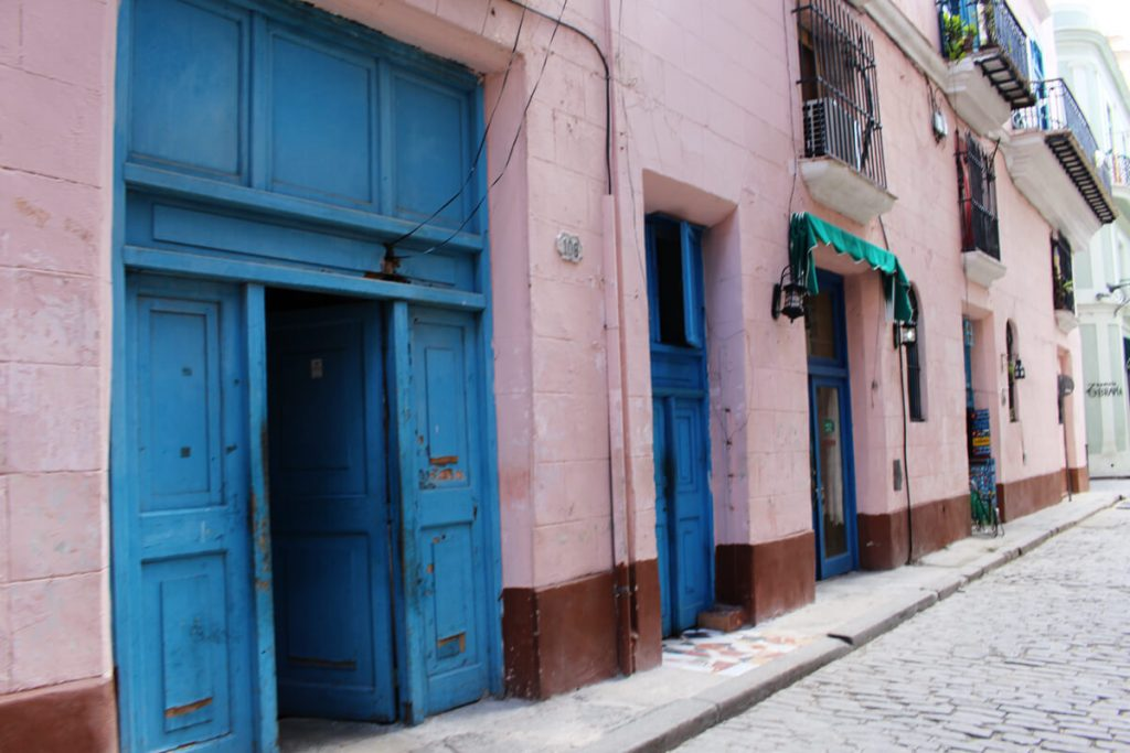 pink and blue doors